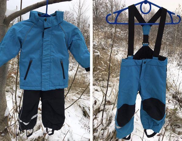 Зимний яркий голубой термо комплект 3 в 1 комбинезон, куртка H&M