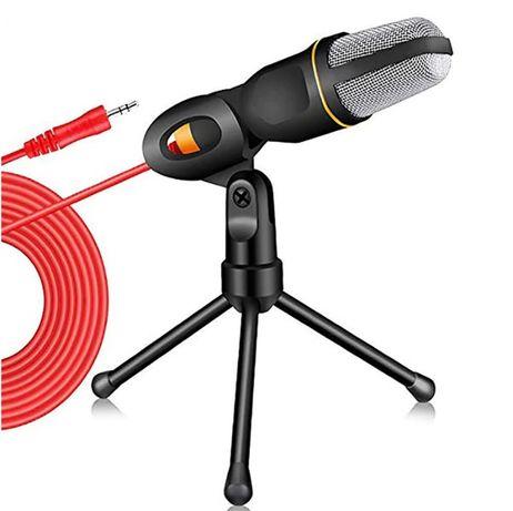 Microfone condensador PC 3.5mm com tripé, Podcast, YouTube, gravação