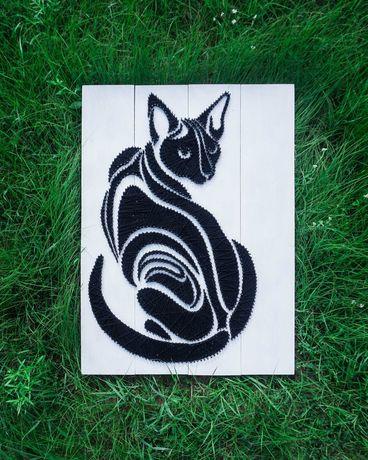 Obraz String Art, Kot 80x60cm, Rękodzieło