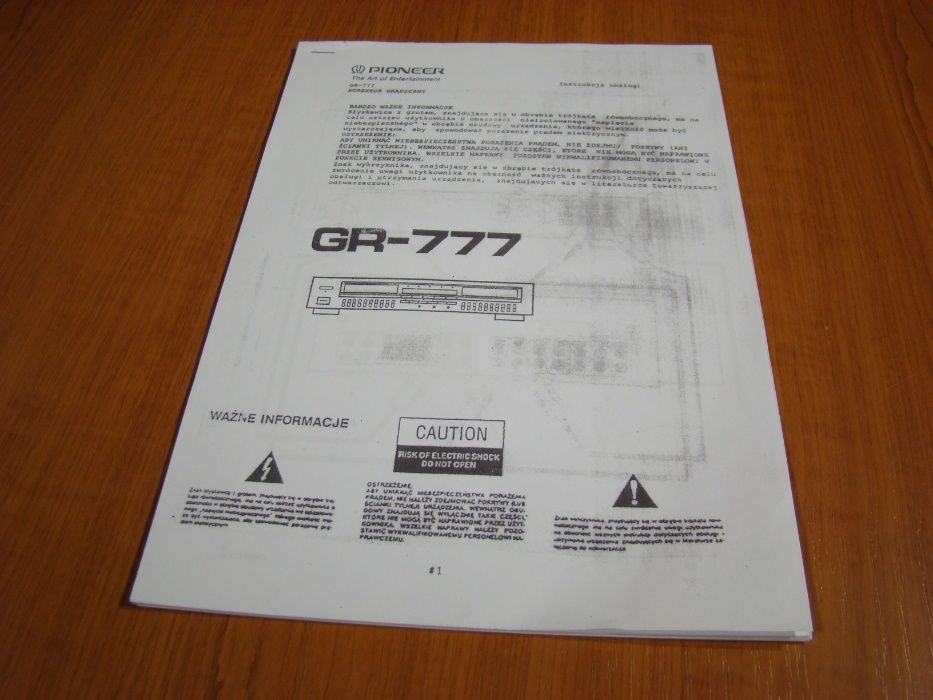 Pioneer GR-777 polska instrukcja obsługi Jelenia Góra - image 1