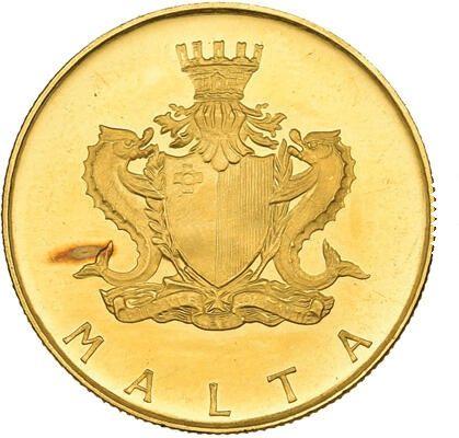 Złota moneta 10 lir 1972 r. Malta rzadka