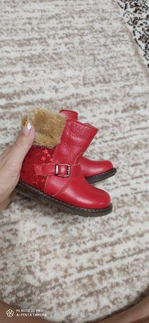 Детская обувь кожаная ботинки красные детские