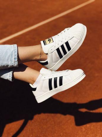 Кроссовки белые Adidas Superstar White Адидас Суперстар белые с черным