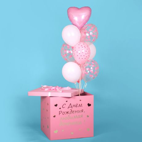 Большая коробка сюрприз с воздушными шарами