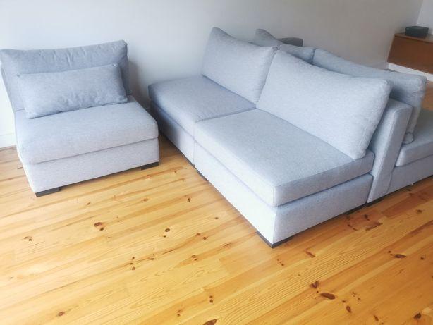 Sofá modular tecido lavável cinza