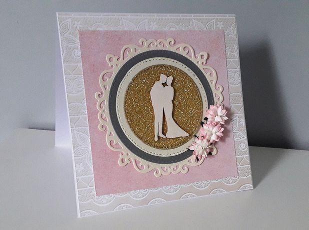 Kartka na Ślub ręcznie robiona scrapbooking ślubna