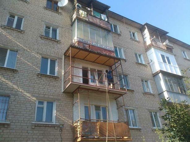 Ремонт балкона,Сварка каркаса, Крыша на балкон,Наружная обшивка.