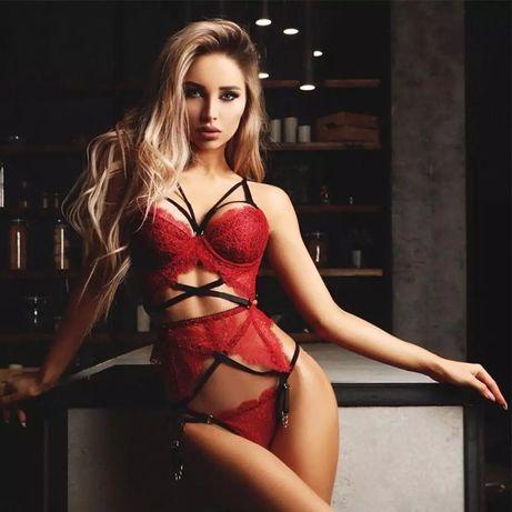 Эротический сексуальный комплект белья набор кружевной красный