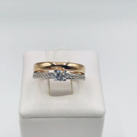Кольцо двойное золото 585 пробы, каблучка подвійна золото