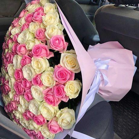 Огромный букет Микс роз - 101 цветок. Подарок. Доставка цветов
