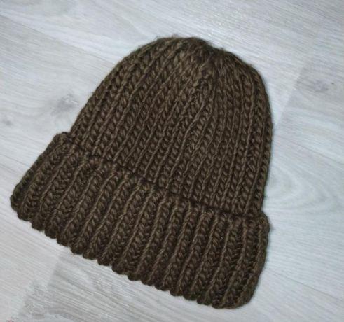 Шапка вязанная, крупная вязка, зелёная женская шапка