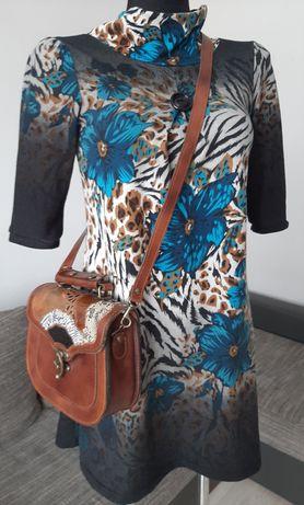 Piękna dzianinowa sukienka w kwiaty+wysyłka za darmo!