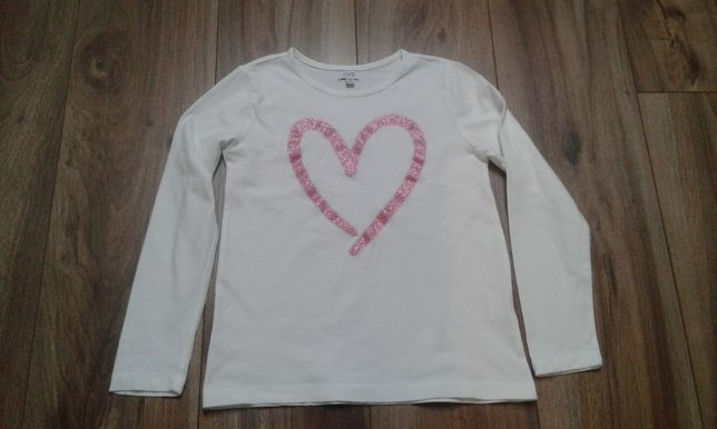 Biala bluzka z brokatowym sercem 134