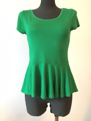 Butelkowa zieleń, bluzka h&m z baskinka S