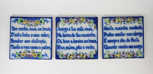 3 Antigos Azulejos Falantes em Faiança - Lar/Casa