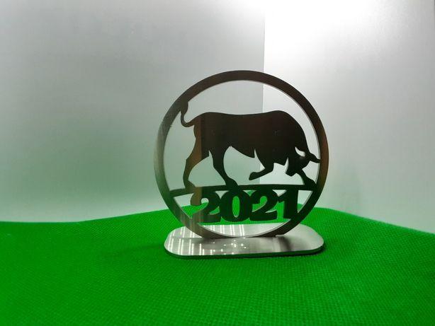 Подставка символ 2021 с нержавейки ручная работа