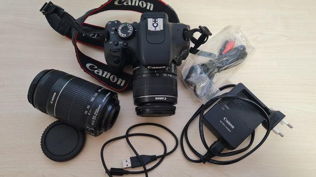 Фотоаппарат Canon EOS 600D с двумя объективами на 55 и 250