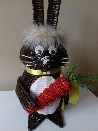 Zając Wielkanocny królik wiklina papierowa Hand Made Wielkanoc