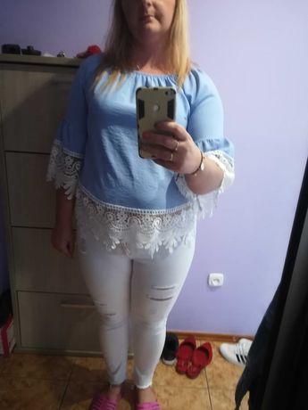 Bluzka koronka błękit niebieska biała 46