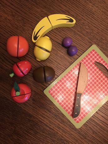 Drewniane owoce do krojenia zestaw gratis puzzle drewniane pudelko