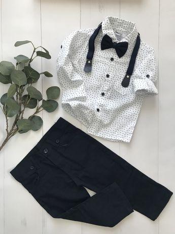 Elegancki komplet chłopięcy r. 92 - 134 koszula spodnie mucha szelki