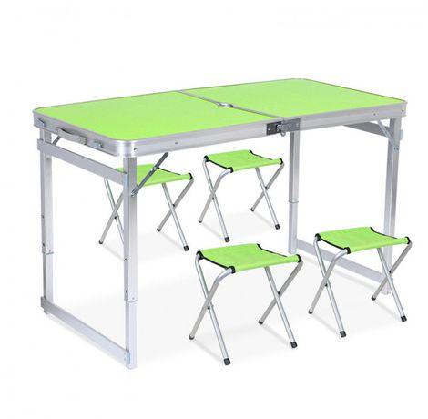 Усиленный стол для пикника раскладной с 4 стульями чемодан раскладной