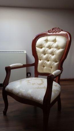 Fotele drewniane tapicerowane komplet 2szt. Rad-Pol ludwikowskie.