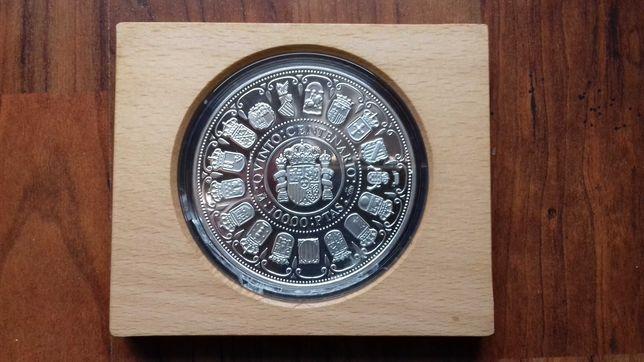 Moeda 5 Onças Prata  10.000 Pesetas 1989 Espanha