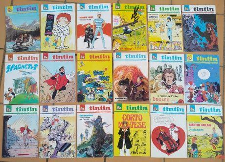 Conjunto de revistas do Tintin dos anos 70