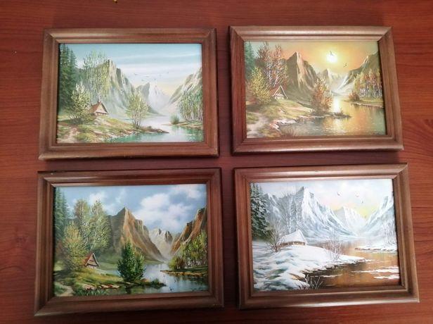 Obrazy ozdobne na ścianę, cztery pory roku w górach