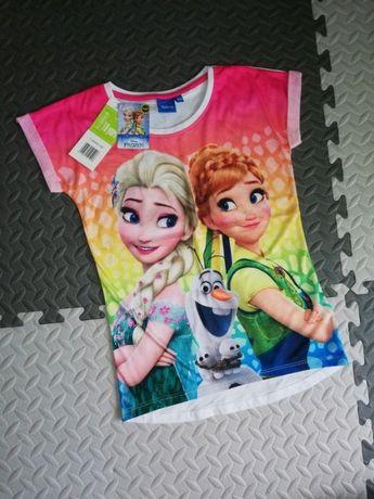 koszulka z krótkim rękawem kraina lodu dziewczynka frozen Anna Elsa