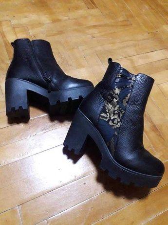 Женские кожаные ботинки зима, кожаные ботинки на толстом каблуке
