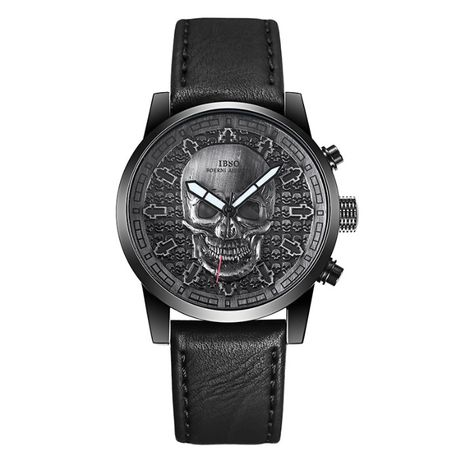 IBSO Boerni Aibisino czarny zegarek naręczny Vintage Skull