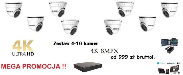 4K zestaw kamer 4-16 kamery 4K 8MPX montaż monitoringu kamer WOŁOMIN