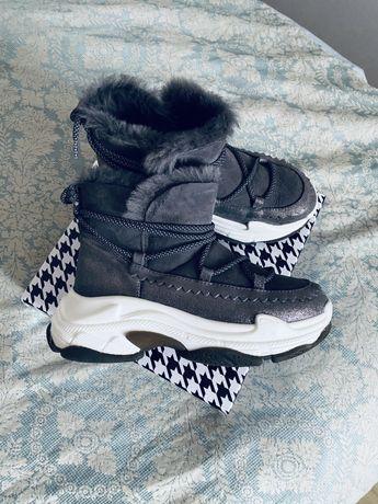 Кожаные зимние кроссовки ботинки угги на большой подошве Miraton