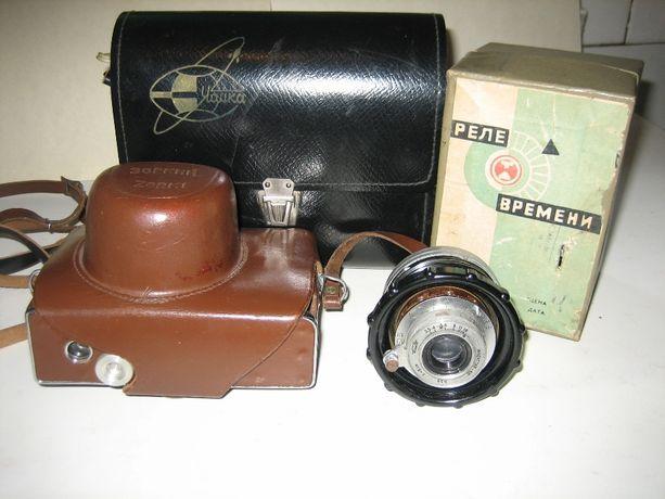 Фотоаппарат Зоркий-10 и фотовспышка Чайка