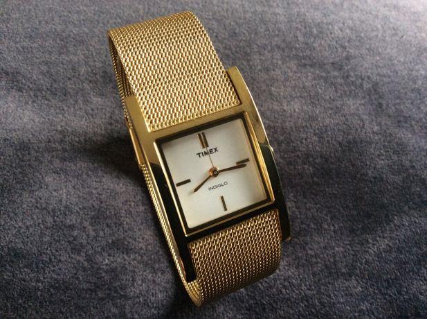 TIMEX indiglo zegarek damski złoty, stalowy bransoleta super stan!