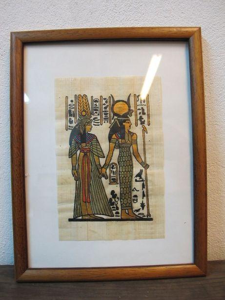 Obraz papirus egipski w ramce drewnianej za szkłem