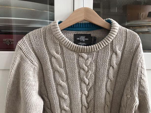 H&M świetny sweter warkocze z angora 122/128