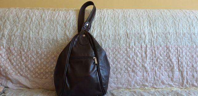 Skórzana brązowa torebka/plecak 2w1 - skóra naturalna