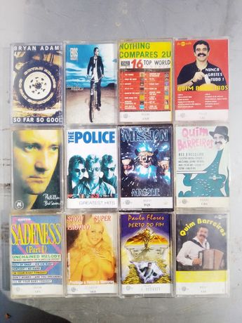 Cassetes de áudio - Bryan Adams, The Police, Quim Barreiros etc - cada