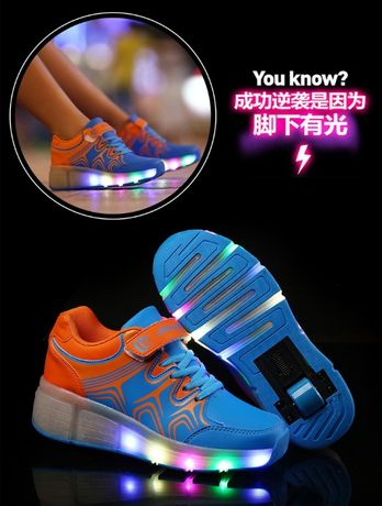 aimoge led кроссовки ролики светящиеся унисекс стелька