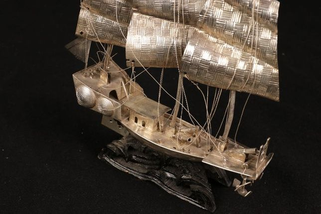 Chiński Junk Boat Srebro Chiny XIX / XX w.CUDO