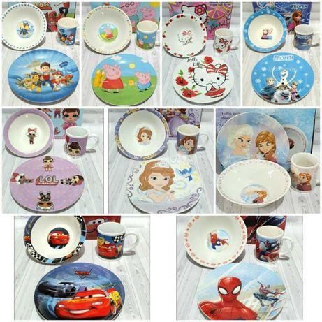 Детский набор посуды керамика лол, тачки, паук, пеппа, щенячий патруль