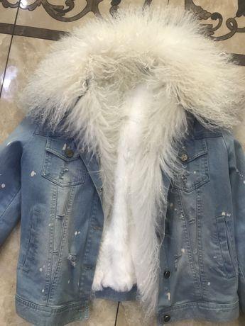Джинсовая куртка с натуральным мехом