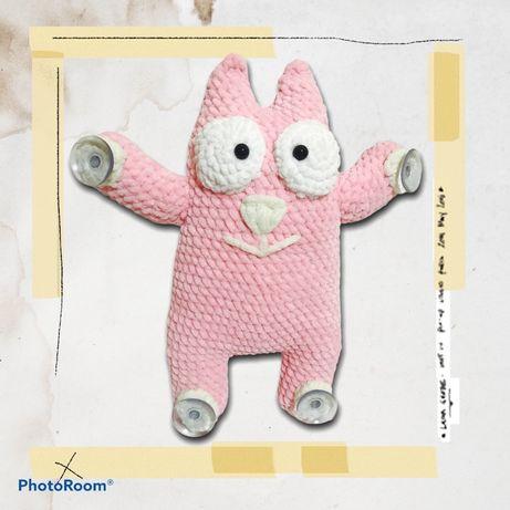 Кот в машину, кот саймон, вязанная игрушка, игрушка ручной работы