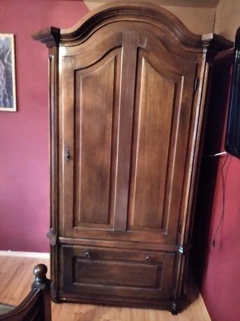 dębowa sypialnia, komoda, łóżko, biurko, szafa