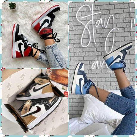 Кроссовки Nike Air JORDAN 1 Retro High ∎ Red Gold Blue∎Лучшее качество