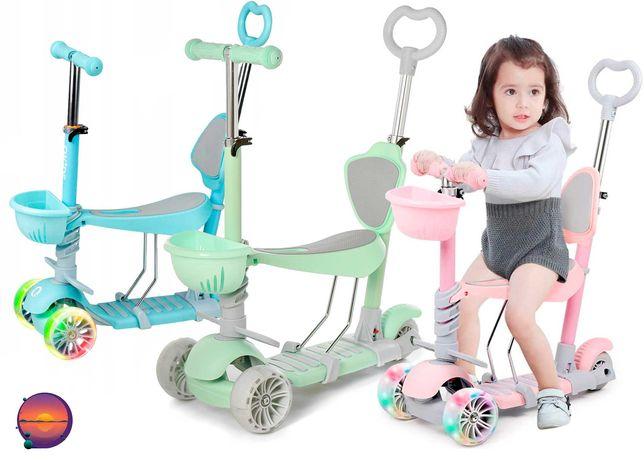Самокат детский трехколесный 5в1 с родительской ручкой колеса светятся