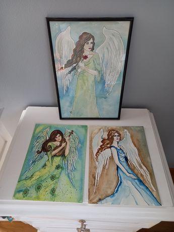 Obrazki - Anioły. Sygnowane rękodzieło.